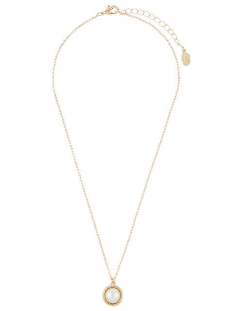 Encased Pearl Pendant Necklace, , large