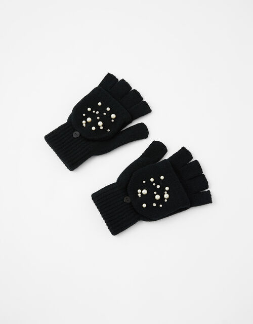 Pearl and Crystal Capped Knit Gloves, Black (BLACK), large