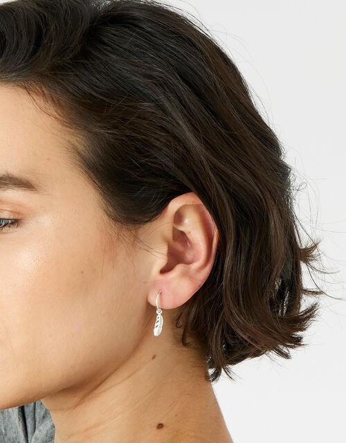 Sterling Silver Feather Huggie Hoop Earrings, , large