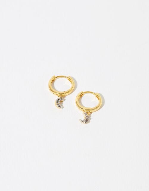 Gold Vermeil White Topaz Moon Charm Earrings, , large