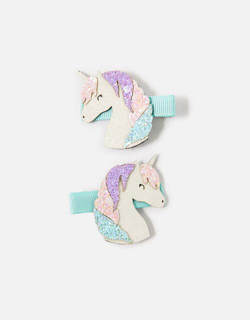 Unicorn Glitter Salon Hair Clips , , large