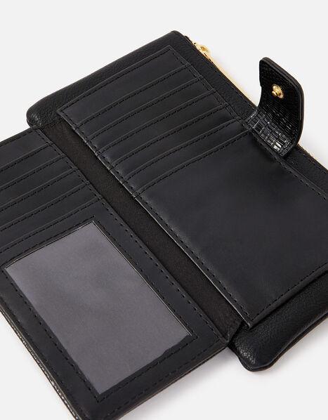 Large Reptile Zip Wallet Black, Black (BLACK), large