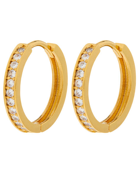 Gold-Plated Pave Huggie Hoops, , large