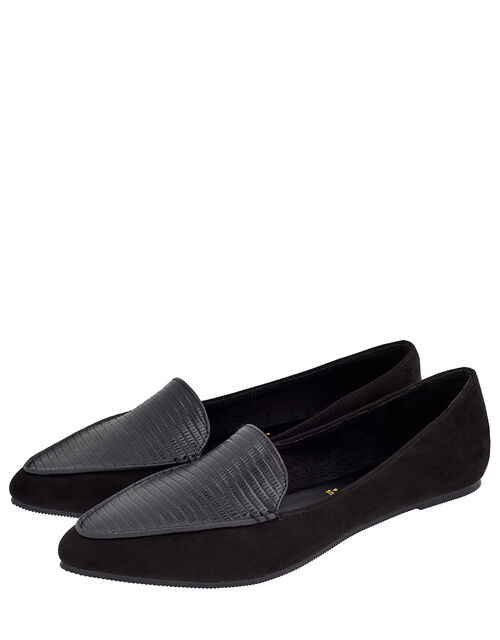 Point Toe Flat Shoes, Black (BLACK), large