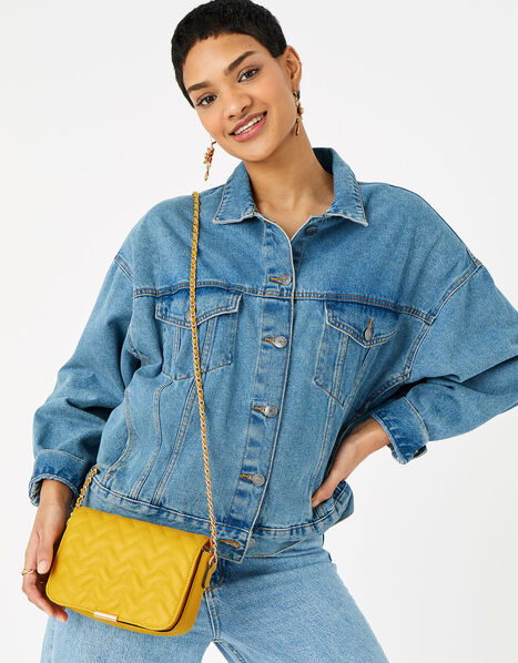 Quinn Quilted Chain Cross-Body Bag  Yellow, Yellow (YELLOW), large