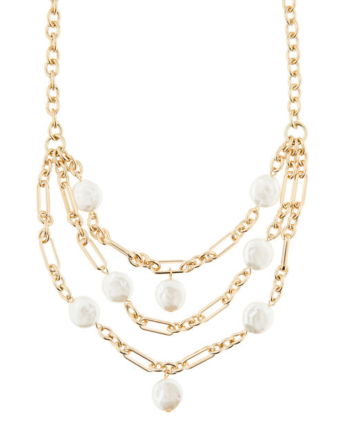 Pearl and Chain Collar Necklace, , large