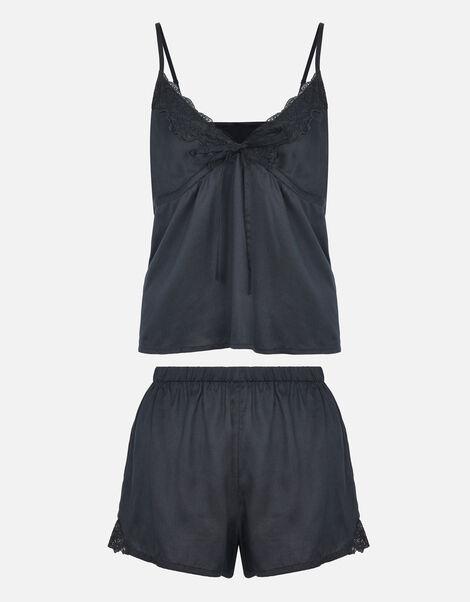 Tie Front Pyjama Set Black, Black (BLACK), large