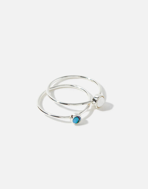 Sterling Silver Shell and Stone Ring, Silver (ST SILVER), large