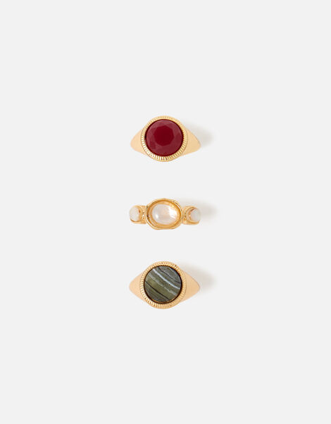 Berry Blush Stone Signet Ring Multipack Red, Red (BERRY), large