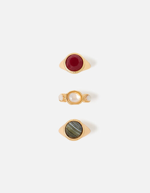 Berry Blush Stone Signet Ring Multipack, Red (BERRY), large