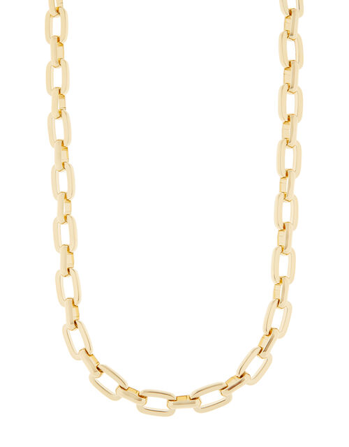 Gold-Plated T-Bar Link Chain Necklace, , large