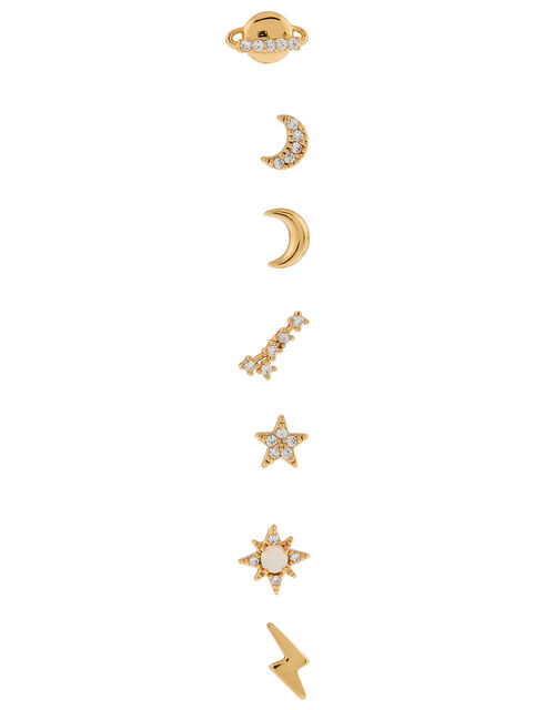 Gold-Plated Celestial Stud Earring Multipack, , large