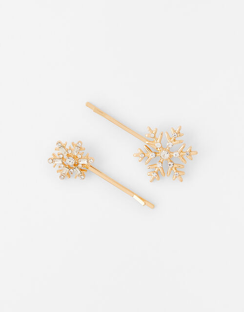 Crystal Snowflake Hair Slides, , large