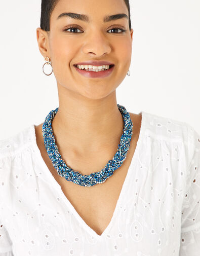 Niki Plaited Bead Collar Necklace, , large