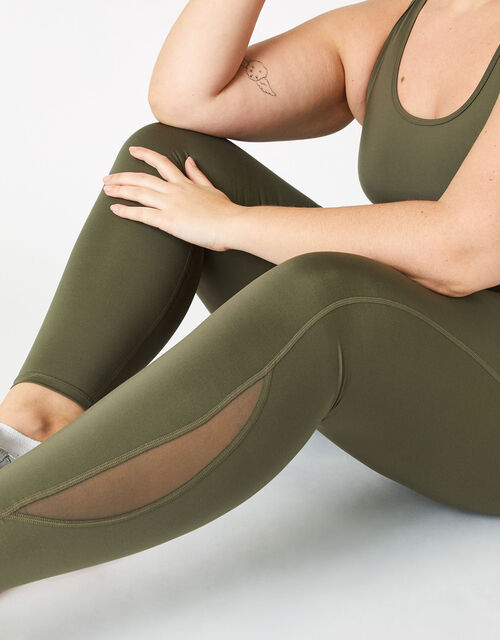 Full-Length Gym Leggings, Green (KHAKI), large