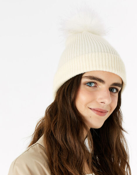 Knit Pom-Pom Beanie with Recycled Fabric Natural, Natural (NATURAL), large