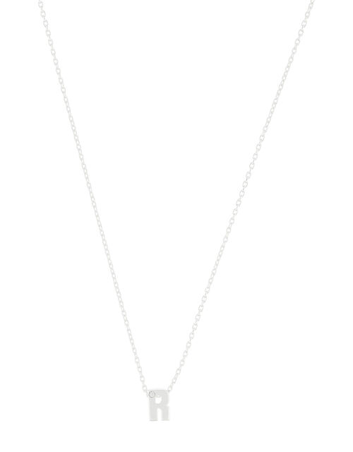 Sterling Silver Sparkle Initial Necklace - R, , large