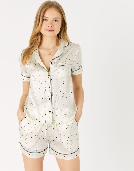 Star Print Satin Pyjama Set  Natural, Natural (IVORY), large