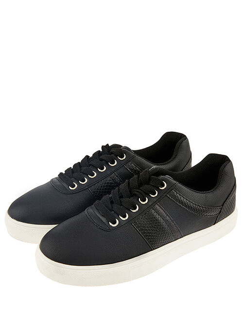 Casual Mock Croc Trainers, Black (BLACK), large