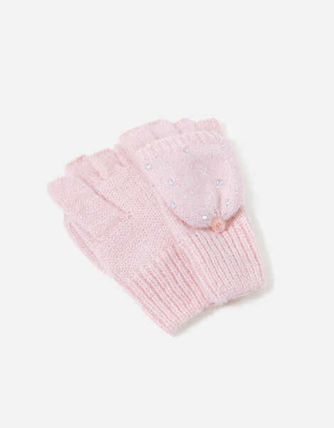 Sparkle Gem Capped Mittens Pink, Pink (PINK), large