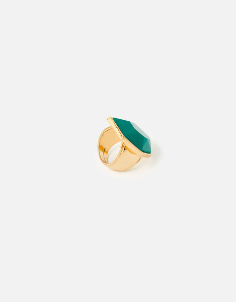 Reconnected Statement Stone Ring  Green, Green (GREEN), large