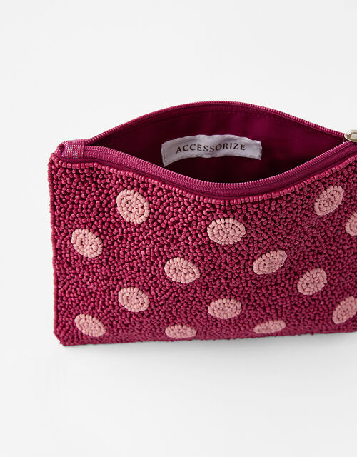 Beaded Spot Pouch Bag, Red (BERRY), large