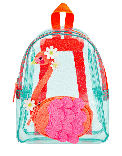 Flora Flamingo Glitter Jelly Backpack, , large