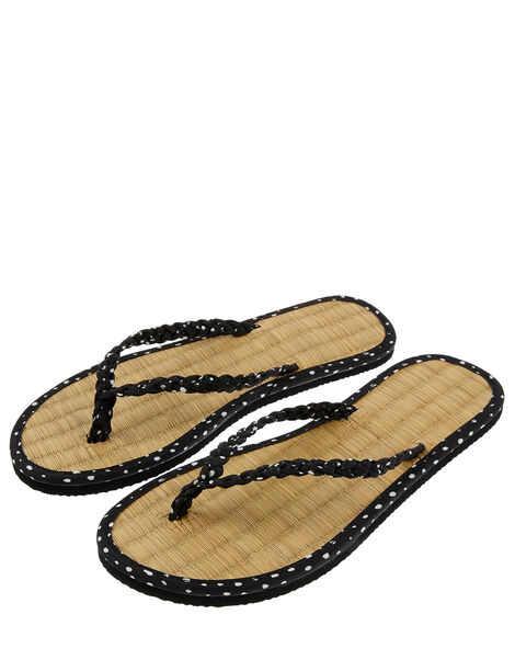 Plaited Spot Seagrass Flip Flops Black, Black (BLACK), large