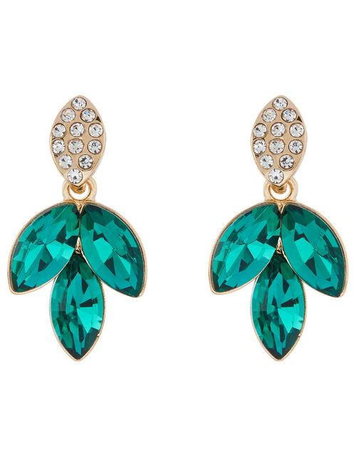 Esmarelda Gem and Crystal Leaf Earrings, , large
