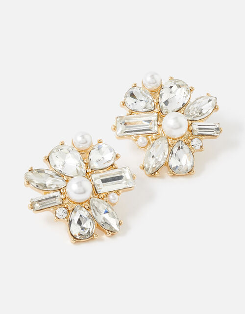 Berry Blush Statement Crystal Stud Earrings, , large