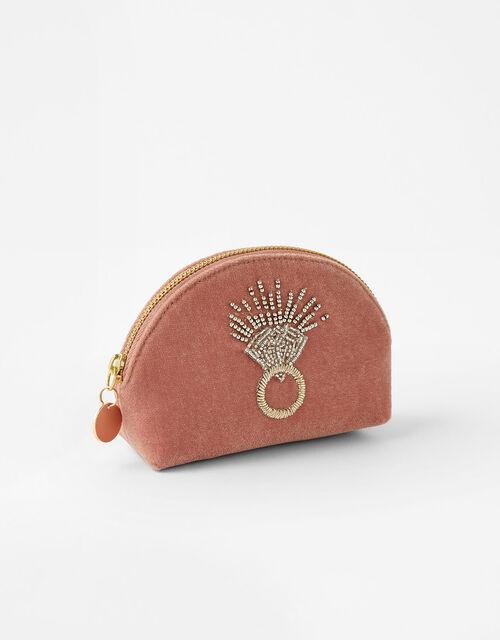 Beaded Ring Mini Velvet Pouch Bag, , large