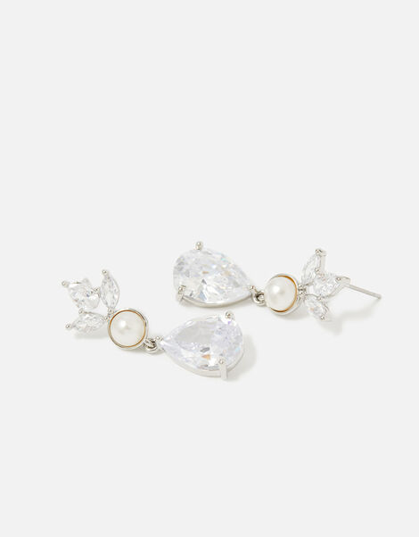 Berry Blush Leaf and Pearl Drop Earrings, , large