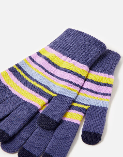 Stripe Super-Stretchy Touchscreen Glove Twinset, , large