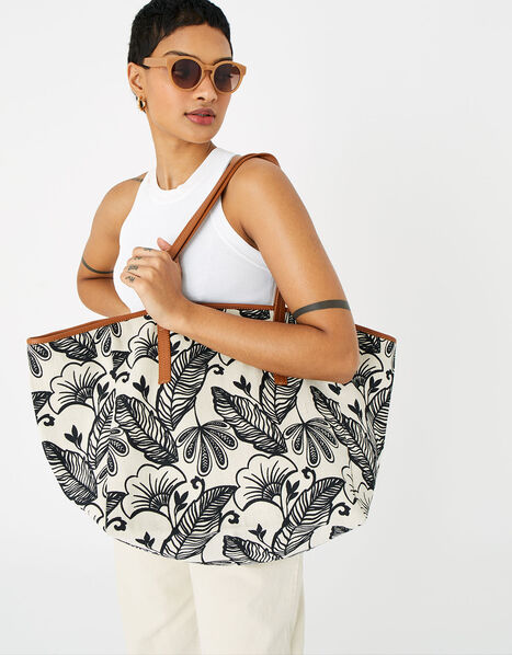 Perla Print Shopper  Black, Black (BLACK/WHITE), large