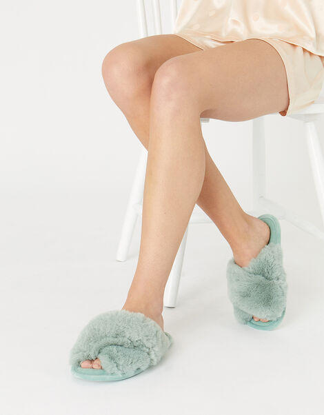 Luxe Faux Fur Sliders Green, Green (GREEN), large