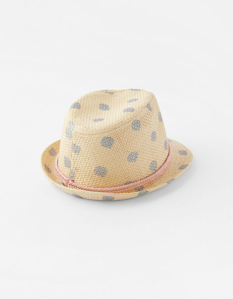 Foil Shell Print Trilby Hat Natural, Natural (NATURAL), large