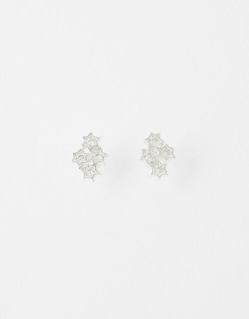 Sterling Silver Sparkle Star Cluster Earrings, , large