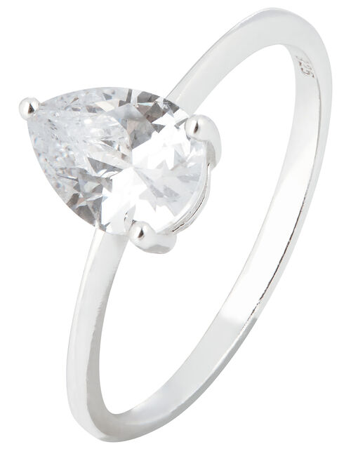 Sterling Silver Pear Solitaire Ring, St Crystal, large