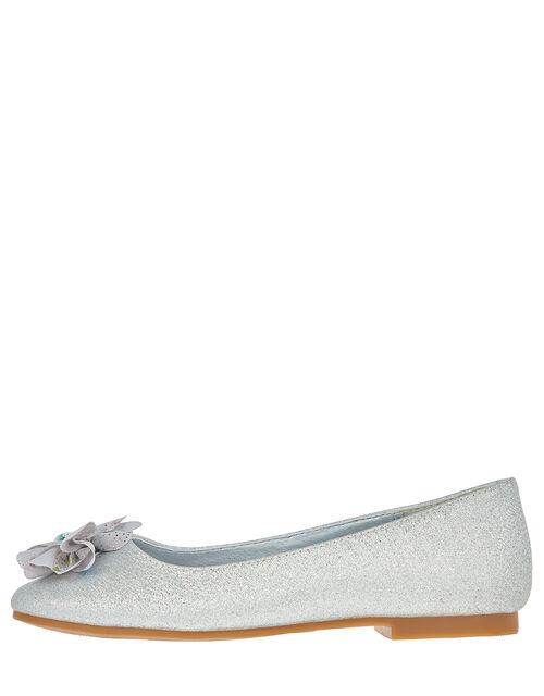 Metallic Shimmer Ballerina Flats, Silver (SILVER), large