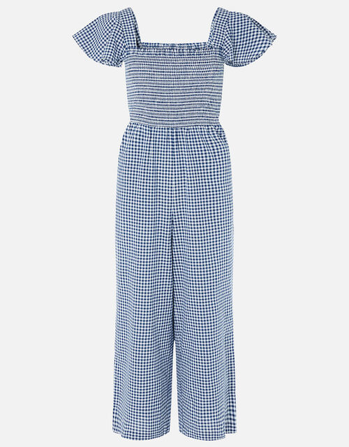 Gingham Print Smocked Jumpsuit, Blue (NAVY), large