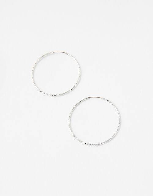 Medium Textured Hoop Earrings, Silver (SILVER), large