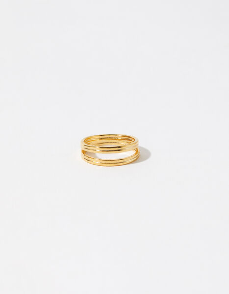 Gold-Plated Double Band Ring Gold, Gold (GOLD), large