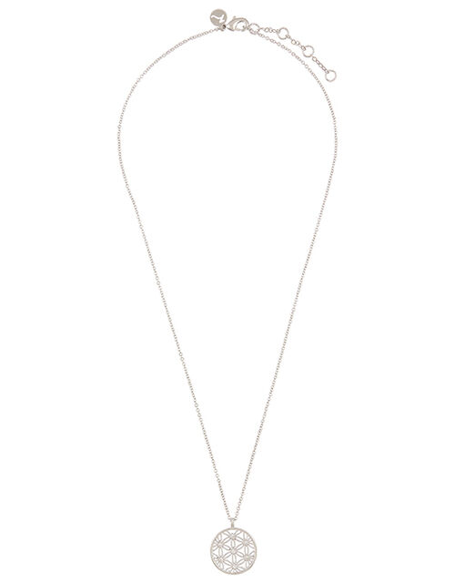 Platinum-Plated Sparkle Pendant Necklace, , large