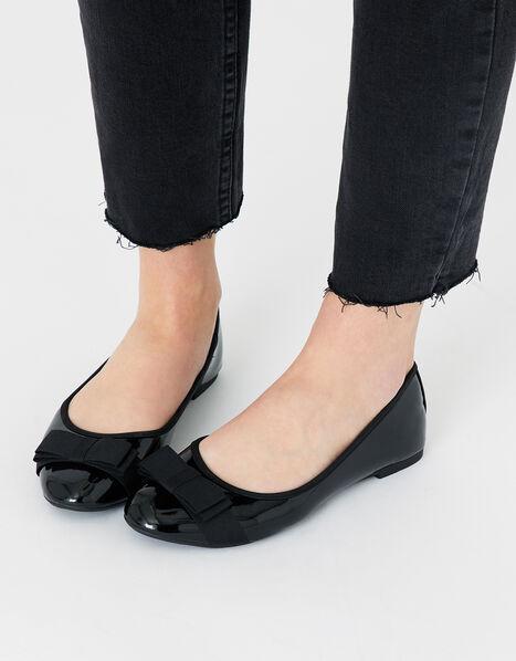 Bow Front Patent Ballerina Flats Black, Black (BLACK), large