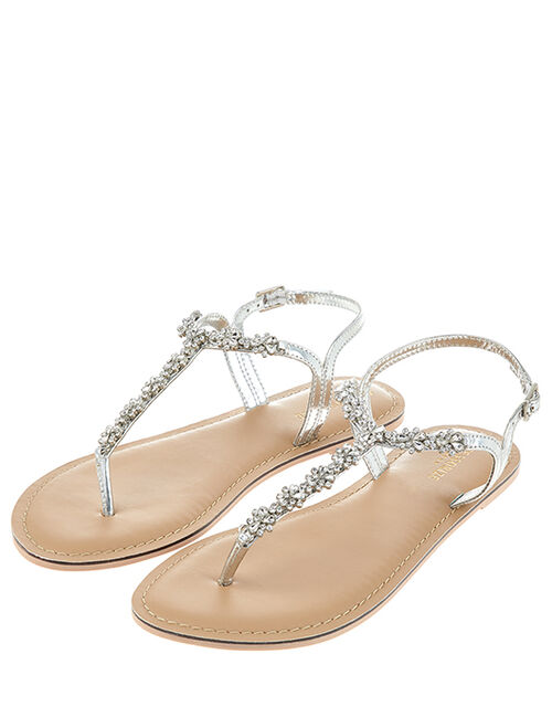 Reno Silver Embellished Sandals, Silver (SILVER), large