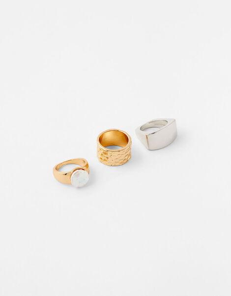 Organic Pearl Chunky Ring Set Cream, Cream (PEARL), large
