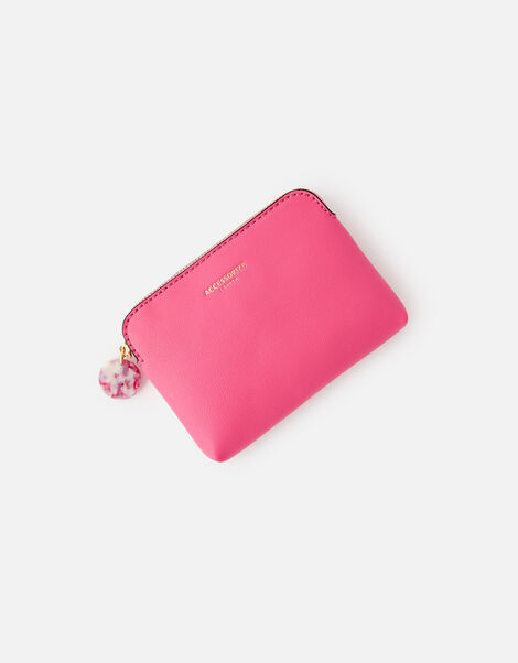 Reptile and Resin Coin Purse  Pink, Pink (FUCHSIA), large