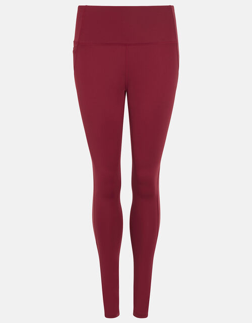 Full-Length Gym Leggings, Red (BURGUNDY), large