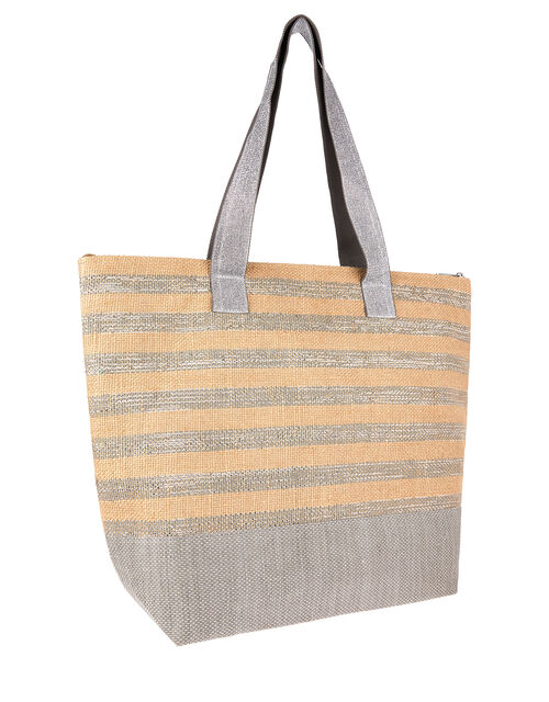 Glitter Stripe Tote Bag with Matching Pouch., , large