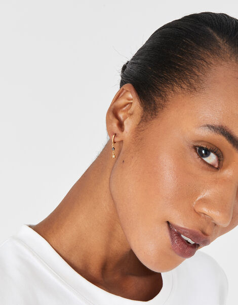 Gold-Plated Celestial Facet Bead Drop Earring Set, , large